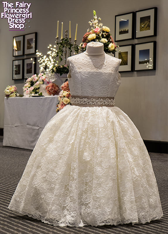 Flowergirl dress 'The Aster' - Lace overlay, sequin lace trim detail on sash